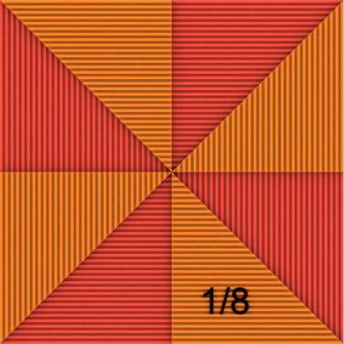 Квадрат разделен диагональными линиями. В данном случае, дробь 1/8 будет верна.