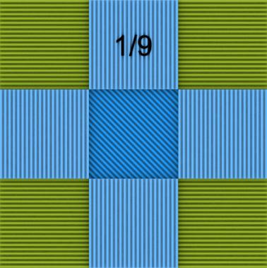 Другой квадрат разделен на 9 частей. Части одинаковы и дробь 1/9 верна.